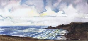The Warren above Hartland Quay looking towards Lundy across Blackpool Mill ; available to buy; see Paintings for sale at the top of the menu on the right