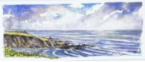 Hartland Quay from the Warren and looking south; available to buy; see Paintings for sale at the top of the menu on the right