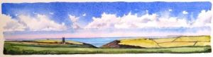 Hartland in Summer; available to buy; see Paintings for sale at the top of the menu on the right