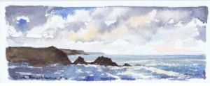 Hartland Quay looking South; available to buy; see Paintings for sale at the top of the menu on the right