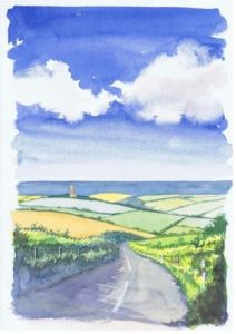Road to Hartland; available to buy; see Paintings for sale at the top of the menu on the right