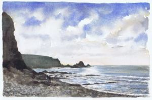 The beach below Blegberry and Duxberry; available to buy; see Paintings for sale at the top of the menu on the right
